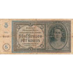 Bohême-Moravie - Pick 4a_1 - 5 korun - 1940 - Série B048 - Etat : B+ à TB-