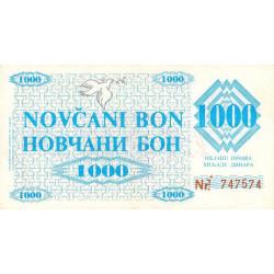 Bosnie Herzegovine - Pick 8g - 1'000 dinara - 11/05/1992 - Etat : TTB+