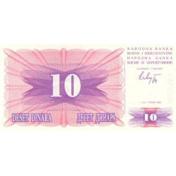 Bosnie Herzegovine - Pick 10 - 10 dinara - 01/07/1992 - Etat : NEUF