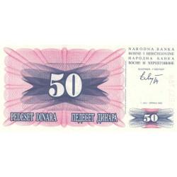 Bosnie Herzegovine - Pick 12 - 50 dinara - 01/07/1992 - Etat : NEUF