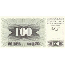 Bosnie Herzegovine - Pick 13 - 100 dinara - 01/07/1992 - Etat : NEUF
