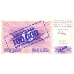 Bosnie Herzegovine - Pick 34a - 100'000 dinara sur 10 dinara - 01/09/1993 - Etat : NEUF