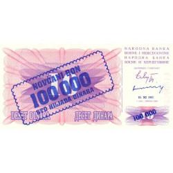 Bosnie Herzegovine - Pick 34b - 100'000 dinara sur 10 dinara - 10/11/1993 - Etat : NEUF