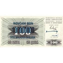 Bosnie Herzegovine - Pick 37b - 100'000'000 dinara sur 100 dinara - 10/11/1993 - Etat : NEUF