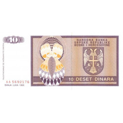 Bosnie Herzegovine - Pick 133 - 10 dinara - 1992 - Etat : NEUF