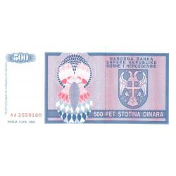 Bosnie Herzegovine - Pick 136 - 500 dinara - 1992 - Etat : NEUF