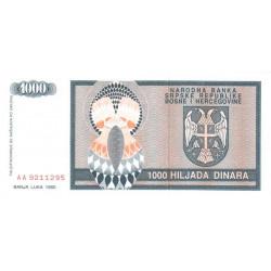 Bosnie Herzegovine - Pick 137 - 1'000 dinara - 1992 - Etat : NEUF
