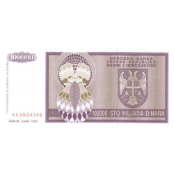 Bosnie Herzegovine - Pick 141 - 100'000 dinara - 1993 - Etat : NEUF