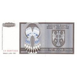 Bosnie Herzegovine - Pick 143 - 5'000'000 dinara - 1993 - Etat : NEUF