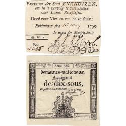 Hollande - Pick B40 - 4 1/2 stuiver + Assignat de 10 sols - 15/05/1795 - Etat : SUP+