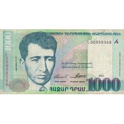 Arménie - Pick 50a - 1'000 dram - 2001 - Etat : TB+