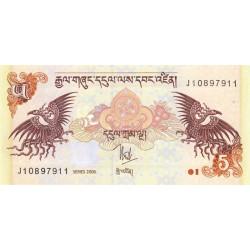 Bhoutan - Pick 28a - 5 ngultrum - 2006 - Série J - Etat : NEUF