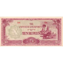 Birmanie - Pick 16a_1a - 10 rupees - Série BA - 1942 - Etat : SPL