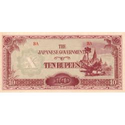 Birmanie - Pick 16b_1a - 10 rupees - Série BA - 1942 - Etat : SPL
