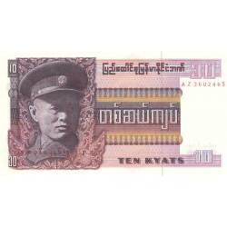 Birmanie - Pick 58 - 10 kyats - Série AZ- 1973 - Etat : NEUF