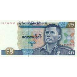 Birmanie - Pick 64 - 45 kyats - Série BK - 1987 - Etat : NEUF