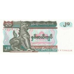 Myanmar - Pick 72 - 20 kyats - Série CY - 1994 - Etat : NEUF