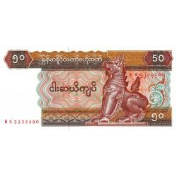 Myanmar - Pick 73b - 50 kyats - Série BS - 1995 - Etat : NEUF