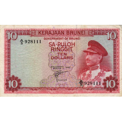 Brunei - Pick 3 - 10 dollars - 1967 - Etat : TTB-