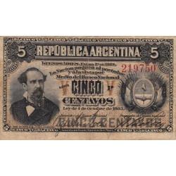 Argentine - Pick 5_3 - 5 centavos - Série P - 01/01/1884 - Etat : TB+