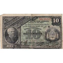 Argentine - Pick 6_1 - 10 centavos - Série K - 01/01/1884 - Etat : TB