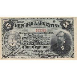 Argentine - Pick 209 - 5 centavos - Série O - 01/11/1891 - Etat : SUP