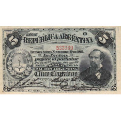 Argentine - Pick 209_3 - 5 centavos - Série O - 01/11/1891 - Etat : SUP