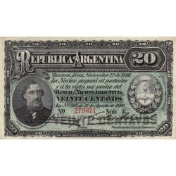 Argentine - Pick 211b - 20 centavos - Série L - 1891 - Etat : SPL