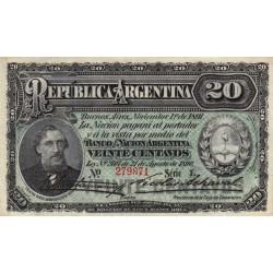 Argentine - Pick 211b_3 - 20 centavos - Série L - 01/11/1891 - Etat : SPL