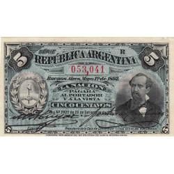 Argentine - Pick 213 - 5 centavos - Série R - 01/05/1892 - Etat : SPL