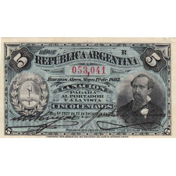 Argentine - Pick 213 - 5 centavos - Série R - 1892 - Etat : SPL