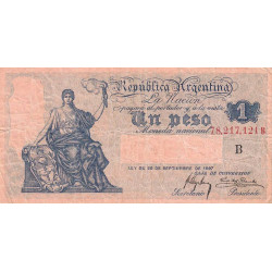 Argentine - Pick 243a - 1 peso - Série B - 1908 - Etat : TB+