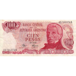 Argentine - Pick 291_2 - 100 pesos - Série A - 1971 - Etat : TTB