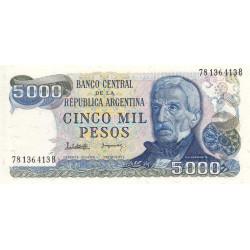Argentine - Pick 305b2 - 5'000 pesos - Série B - 1977 - Etat : NEUF