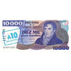 Argentine - Pick 322d - 10 australes sur 10'000 pesos argentinos - Série C - 1985 - Etat : NEUF