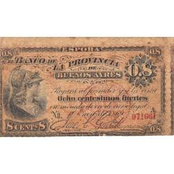 Argentine - Pick S 512b - 8 centesimos fuertes - Série A - 01/01/1869 (1876) - Etat : TB-