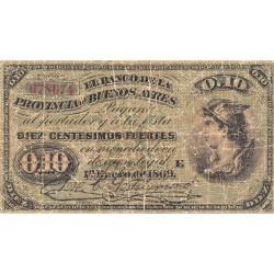 Argentine - Pick S 513b - 10 centesimos fuertes - Série E - 01/01/1869 (1876) - Etat : B+