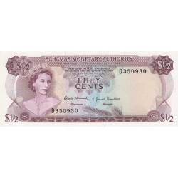 Bahamas - Pick 26 - 1/2 dollar - Série D - loi 1968 - Etat : NEUF