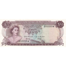 Bahamas - Pick 26 - 1/2 dollar - Loi 1968 - Etat : SUP+