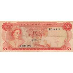 Bahamas - Pick 37a - 5 dollars - Série H - Loi 1974 - Etat : TB