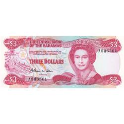 Bahamas - Pick 44a - 3 dollars - Série A - Loi 1974 (1984) - Etat : NEUF
