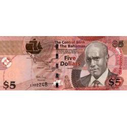 Bahamas - Pick 72 - 5 dollars - Série F - 2007 - Etat : NEUF