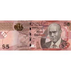 Bahamas - Pick 72A - 5 dollars - 2013 - Etat : NEUF