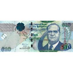 Bahamas - Pick 73A - 10 dollars - 2009 - Etat : NEUF