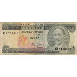 Barbade - Pick 32 - 5 dollars - 1976 - Etat : TB