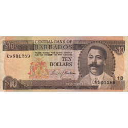 Barbade - Pick 33 - 10 dollar - 1973 - Etat : TB