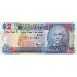 Barbade - Pick 54a - 2 dollars - 1998 - Etat : TTB