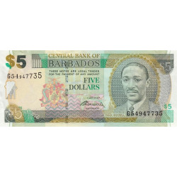 Barbade - Pick 67b - 5 dollars - 2009 - Etat : NEUF