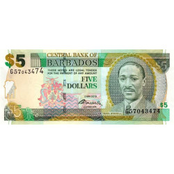 Barbade - Pick 67c - 5 dollars - 2012 - Etat : NEUF