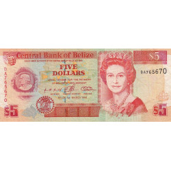 Belize - Pick 58 - 5 dollars - 1996 - Etat : TTB